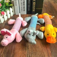 Cute Popular Pet Dog Cat Funny Fleece Durability Plush Dog Toys Squeak Chew Sound Toy Fit for Pets Elephant Duck Pig Plush Toys